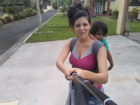 Rucksack carry with a toddler
